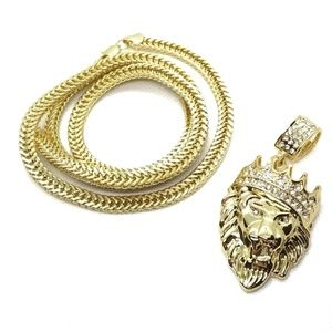 18k Real Gold Plated Crown Lion Pendant with Chain